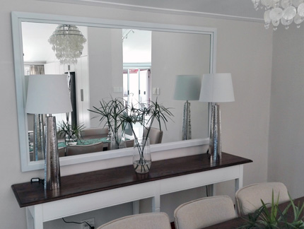 gloss white boxed framed mirror